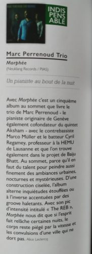 Jazz News France 2020 marc perrenoud morphée